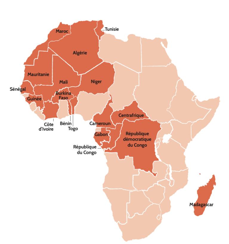 Carte d'Afrique avec les 18 pays et 22 unités membres du GFAOP